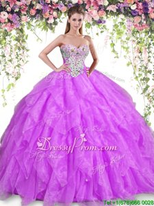 Adorable Floor Length Purple Sweet 16 Dress Sweetheart Sleeveless Lace Up