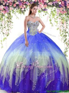 Noble Floor Length Multi-color 15th Birthday Dress Tulle Sleeveless Spring and Summer and Fall and Winter Beading