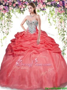 Customized Red Sleeveless Floor Length Beading and Pick Ups Lace Up Sweet 16 Dress