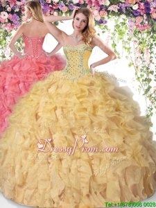 Trendy Sleeveless Beading and Ruffles Lace Up 15 Quinceanera Dress