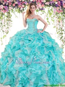 Lovely Floor Length Ball Gowns Sleeveless White and Aqua Blue Vestidos de Quinceanera Lace Up