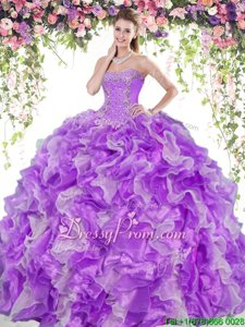 Beading and Ruffles 15 Quinceanera Dress White And Purple Lace Up Sleeveless Floor Length
