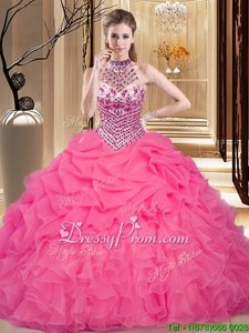 Hot Pink Sleeveless Organza Lace Up 15th Birthday Dress forMilitary Ball and Sweet 16 and Quinceanera
