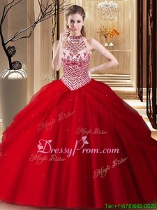 Cheap Halter Top Sleeveless Tulle Quinceanera Dress Beading and Pick Ups Brush Train Lace Up