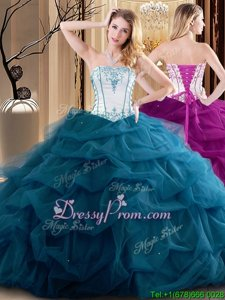 Gorgeous White and Teal Ball Gowns Strapless Sleeveless Tulle Floor Length Lace Up Embroidery and Ruffled Layers Sweet 16 Dresses