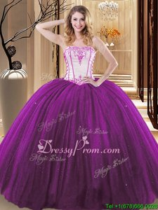 Excellent White And Purple Tulle and Sequined Lace Up Strapless Sleeveless Floor Length Sweet 16 Dresses Embroidery