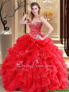 Custom Made Sleeveless Beading and Ruffles Lace Up Sweet 16 Dresses
