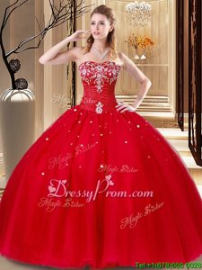 Most Popular Red Quinceanera Dresses Military Ball and Sweet 16 and Quinceanera and For withBeading and Embroidery Sweetheart Sleeveless Lace Up