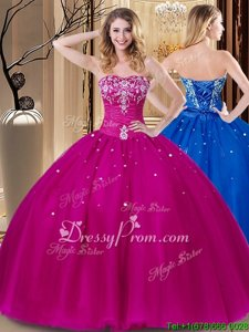Hot Selling Beading and Embroidery Quinceanera Gowns Fuchsia Lace Up Sleeveless Floor Length