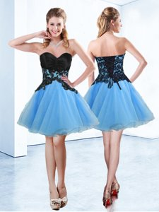 Most Popular Sleeveless Mini Length Appliques Lace Up Prom Dresses with Blue And Black