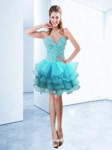 Designer Organza Sleeveless Knee Length Prom Gown and Ruffles