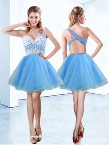 A-line Baby Blue One Shoulder Organza Sleeveless Knee Length Criss Cross