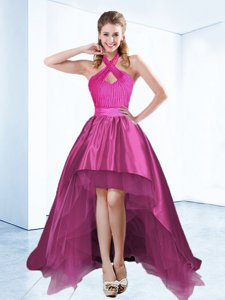 Hot Selling High Low Fuchsia Prom Dress Halter Top Sleeveless Zipper