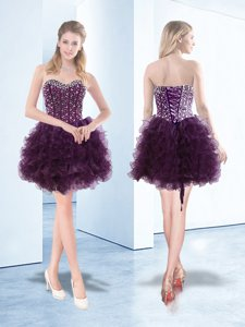 Fashion Dark Purple Sweetheart Neckline Beading and Ruffles Prom Dresses Sleeveless Lace Up