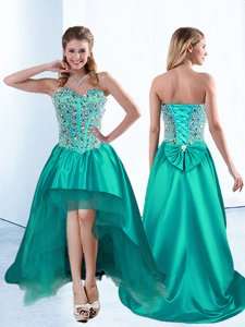 Inexpensive High Low Teal Dress for Prom Sweetheart Sleeveless Lace Up