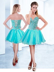 Edgy Sleeveless Organza Mini Length Lace Up in Aqua Blue for with Beading