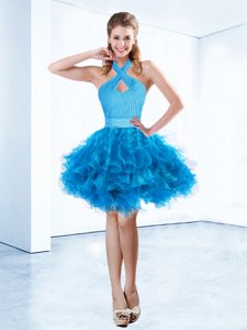 Baby Blue Organza Zipper Halter Top Sleeveless Mini Length Evening Dress Ruching and Belt