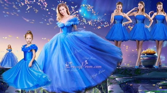 Shining Floor Length Ball Gowns Short Sleeves Royal Blue Sweet 16 Quinceanera Dress Lace Up