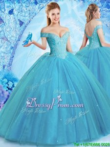 Simple Off The Shoulder Sleeveless Sweet 16 Dresses With Brush Train Beading Teal Tulle