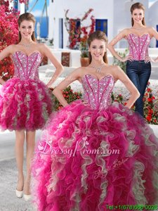 Charming Sweetheart Sleeveless Lace Up Quinceanera Gown White and Hot Pink Organza