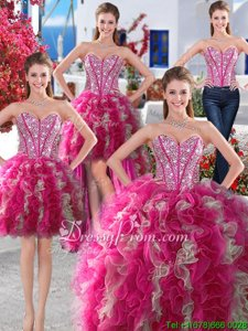 Luxurious White and Hot Pink Sweetheart Neckline Beading 15 Quinceanera Dress Sleeveless Lace Up