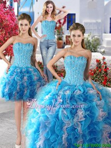 Dramatic Sweetheart Sleeveless Organza Quinceanera Gowns Beading Lace Up