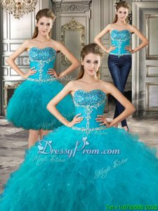Modest Spring and Summer and Fall and Winter Tulle Sleeveless Floor Length Sweet 16 Quinceanera Dress andBeading and Ruffles