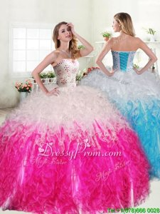 Fantastic Spring and Summer and Fall and Winter Organza Sleeveless Floor Length 15 Quinceanera Dress andBeading and Ruffles