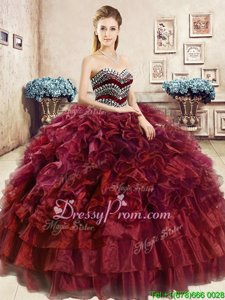Elegant Wine Red Ball Gowns Organza Sweetheart Sleeveless Beading and Ruffles Floor Length Lace Up Quinceanera Dress