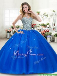 Delicate Floor Length Royal Blue Quinceanera Gown Tulle Sleeveless Spring and Summer and Fall and Winter Beading