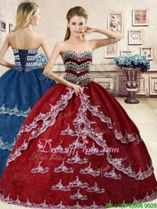 Custom Design Wine Red Sleeveless Beading and Appliques Floor Length Quinceanera Dress