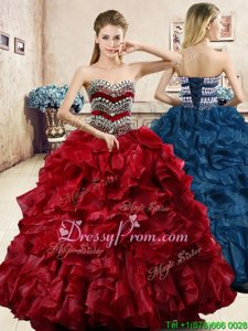 Wonderful Floor Length Wine Red 15 Quinceanera Dress Sweetheart Sleeveless Lace Up