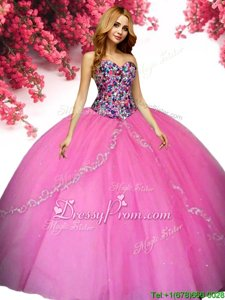 Clearance Hot Pink Ball Gowns Sweetheart Sleeveless Tulle Floor Length Lace Up Beading Quinceanera Dresses