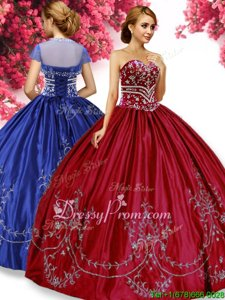 Sexy Floor Length Wine Red Quinceanera Dress Sweetheart Sleeveless Lace Up