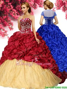 Hot Sale With Train Lace Up Vestidos de Quinceanera Wine Red and In forMilitary Ball and Sweet 16 and Quinceanera withPick Ups Brush Train
