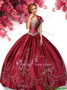 Admirable Embroidery Quinceanera Dress Wine Red Lace Up Sleeveless Floor Length