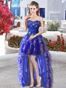 Sleeveless Lace Up High Low Appliques and Ruffles Dress for Prom