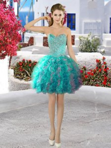 Fabulous Turquoise Lace Up Evening Dress Beading and Ruffles Sleeveless Mini Length
