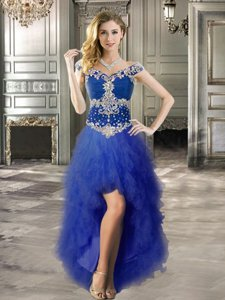 Off the Shoulder Cap Sleeves High Low Lace Up Prom Dress Royal Blue and In for Prom and Party with Beading and Ruffles
