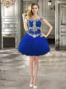 Custom Designed Royal Blue Lace Up Off The Shoulder Beading and Ruffles Prom Party Dress Tulle Cap Sleeves