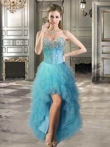 Teal Lace Up Sweetheart Beading and Ruffles Prom Party Dress Tulle Sleeveless