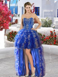 Royal Blue Sleeveless Organza Lace Up Prom Dress for Prom and Party