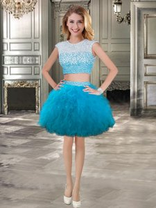 Clearance Teal Scoop Lace Up Beading and Ruffles Prom Party Dress Cap Sleeves