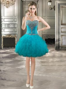 Teal Sweetheart Neckline Beading and Ruffles Sleeveless Lace Up