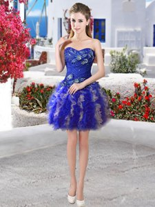 Organza Sleeveless Mini Length Prom Party Dress and Appliques and Ruffles