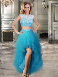 A-line Homecoming Dress Teal Scoop Tulle Cap Sleeves High Low Lace Up