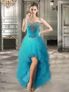 Teal Evening Dress Prom and Party and For with Beading and Ruffles Sweetheart Sleeveless Lace Up