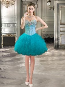Stylish Sleeveless Mini Length Beading and Ruffles Lace Up Prom Gown with Teal