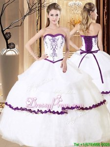 Pretty Sweetheart Sleeveless Lace Up Vestidos de Quinceanera White And Purple Organza