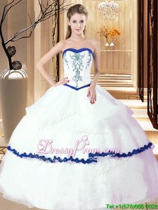 Spring and Summer and Fall and Winter Organza Sleeveless Floor Length Quinceanera Gowns andEmbroidery and Ruffled Layers